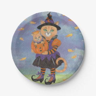 Halloween Pumpkin Kitten with Cat in Costume 7 Inch Paper Plate
