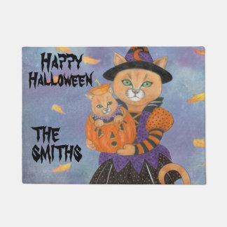 Halloween Pumpkin Kitten with Cat in Costume Doormat