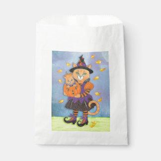 Halloween Pumpkin Kitten with Cat in Costume Favor Bags
