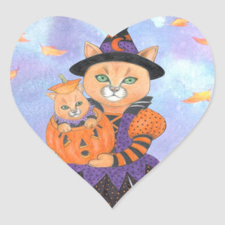 Halloween Pumpkin Kitten with Cat in Costume Heart Sticker