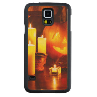 Halloween pumpkin lantern carved maple galaxy s5 slim case