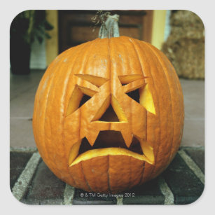 Halloween pumpkin lantern, close-up square sticker