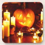 Halloween pumpkin lantern drink coasters