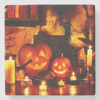 Halloween Pumpkin Lantern Stone Coaster
