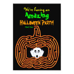 Halloween Pumpkin Maze and Ghost 5x7 Paper Invitation Card