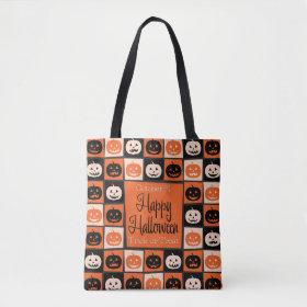 Halloween pumpkin mosaic tote bag