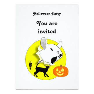Halloween Pumpkin Mouse and Cats  Invitation