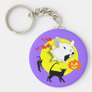 Halloween Pumpkin Mouse and Cats Keychain
