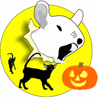 Halloween Pumpkin Mouse and Cats Photo Sculpture