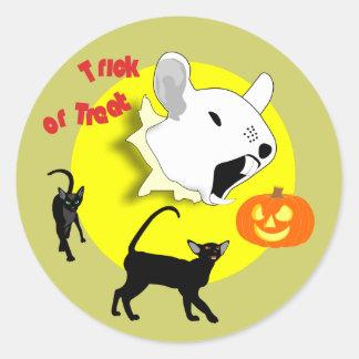 Halloween Pumpkin Mouse and Cats Sticker