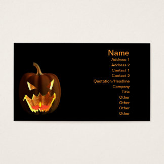 Halloween pumpkin on black business card