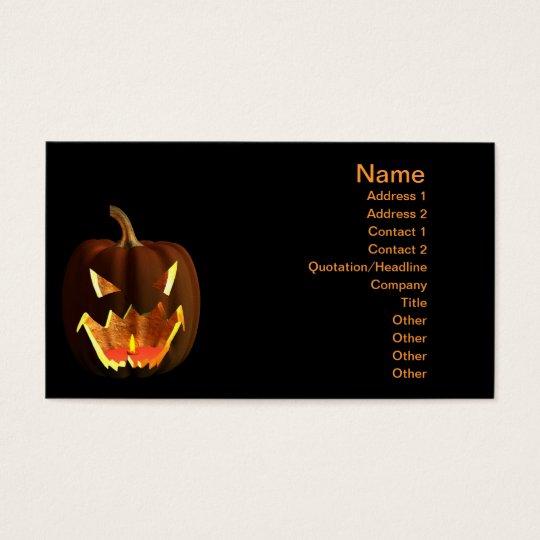 Halloween pumpkin on black business card