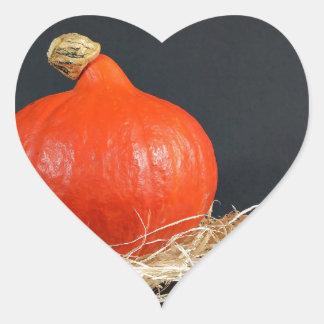 Halloween pumpkin on black heart sticker