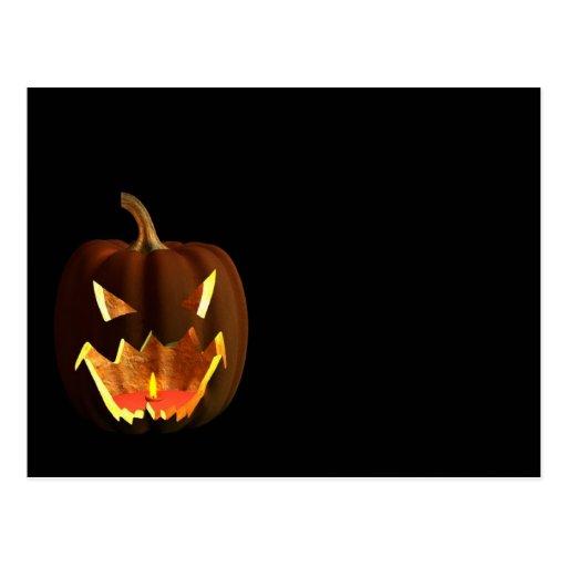 Halloween pumpkin on black post cards