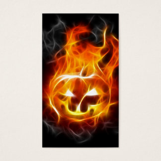 Halloween Pumpkin on Fire Business Card