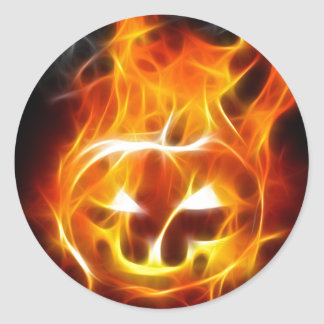 Halloween Pumpkin on Fire Classic Round Sticker