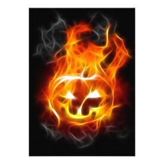 Halloween Pumpkin on Fire Custom Invitations