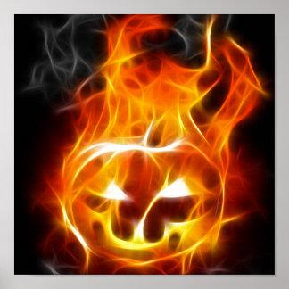 Halloween Pumpkin on Fire Posters