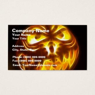 Halloween Pumpkin on Flames Business Card