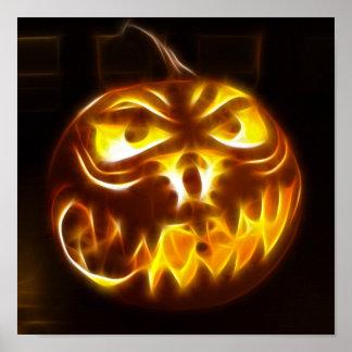 Halloween Pumpkin on Flames Print