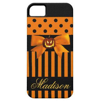 Halloween Pumpkin Orange + Black Stripe Phone Case