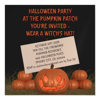 Halloween Pumpkin Party Invite Magnetic Card