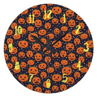 Halloween Pumpkin Pattern Jack-o-Lantern Festive Large Clock
