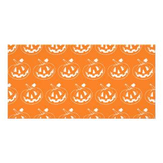 Halloween Pumpkin pattern Photo Card