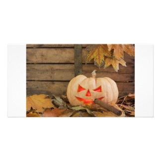 Halloween pumpkin photo card