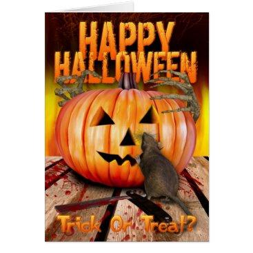 Halloween Themed Halloween Pumpkin Rat, Skeleton Hands And Fire Card