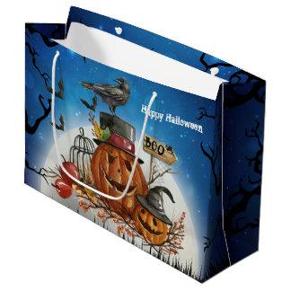 Halloween Pumpkin Raven Party Large Gift Bag