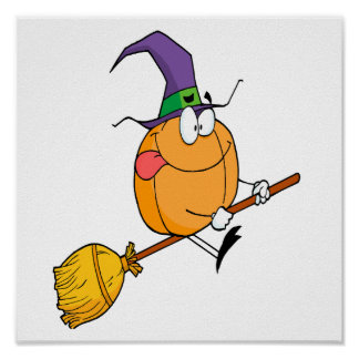 halloween pumpkin riding broomstick cartoon poster