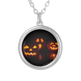 Halloween Pumpkin Scare Silver Plated Necklace