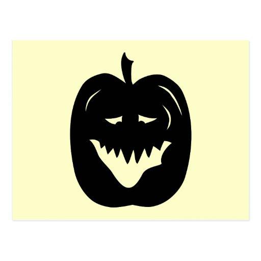 Halloween Pumpkin Silhouette. Black. Postcard