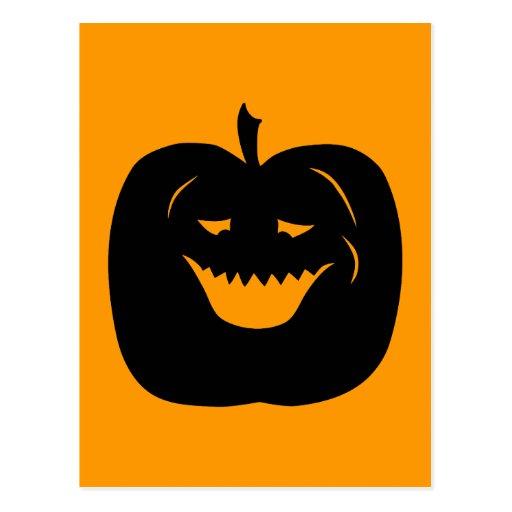 Halloween Pumpkin Silhouette. Black. Postcards
