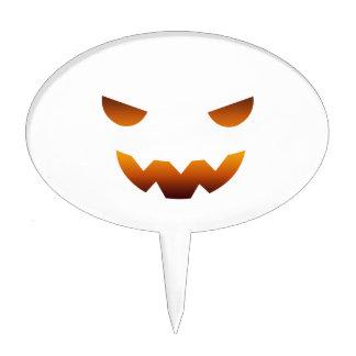 Halloween pumpkin smiley face cake picks