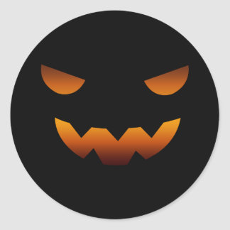 Halloween pumpkin smiley face classic round sticker