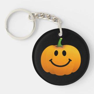 Halloween Pumpkin Smiley face Double-Sided Round Acrylic Keychain
