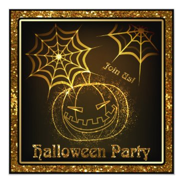 Halloween Themed Halloween Pumpkin Sparkle Party Invitation