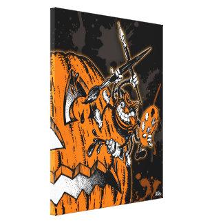 Halloween Pumpkin Spider Artist Canvas Print