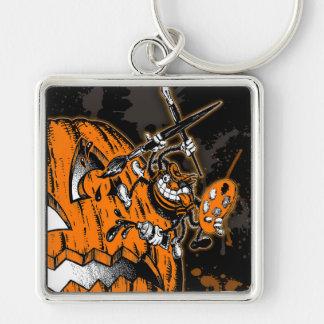 Halloween Pumpkin Spider Artist Silver-Colored Square Keychain