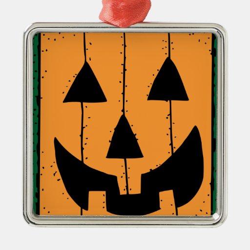 Halloween Pumpkin Stamp Square Metal Christmas Ornament