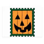 Halloween Pumpkin Stamp Postcard