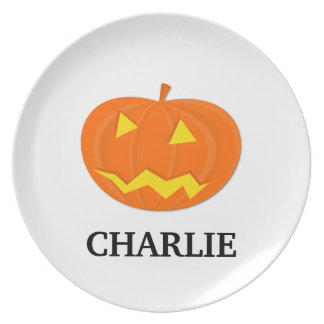 Halloween Pumpkin Toddler Plate with Name