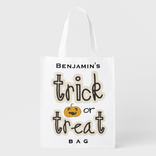 Halloween Pumpkin Trick or Treat Candy Custom Grocery Bag