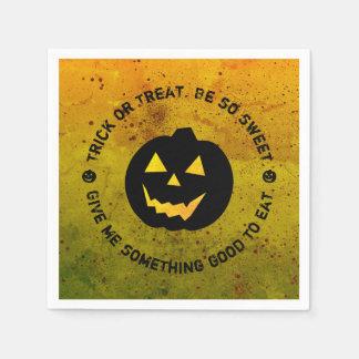 halloween pumpkin trick or treat paper napkins - Halloween Slogans