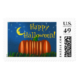 Halloween Pumpkin Under The Moon & Stars Postage