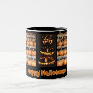 Halloween Pumpkin Wall Two-Tone Coffee Mug