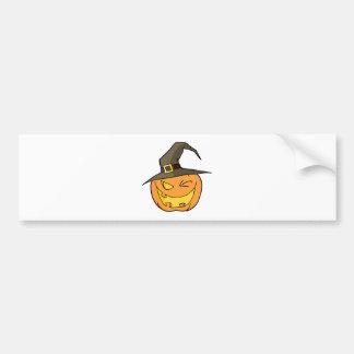Halloween Pumpkin Winking A Witch Hat Bumper Sticker