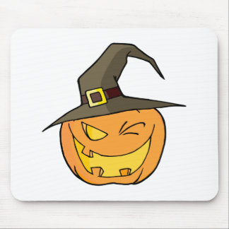 Halloween Pumpkin Winking A Witch Hat Mouse Pad